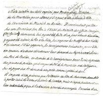 NOTE RELATIVE A L ADMISSION DE CLOTILDE DE LA MARTELIERE NOBLE COMME CHANOINESSE DE MUNICH OU BAVIERE 10*11 CM - Historical Documents