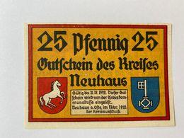 Allemagne Notgeld Neuhaus 25 Pfennig - [ 3] 1918-1933 : République De Weimar