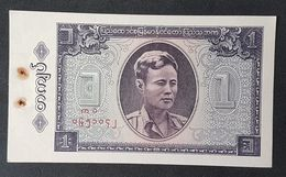 Burma 1 Kyat Banknote 1965 P.52 UNC With Stapler Mark - Myanmar