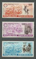 Rwanda, 1967 (#232-34a), World Exhibition EXPO '67, Montreal, Canada, Dance, Expositions, Architecture - 3v - 1967 – Montreal (Canada)