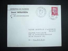 LETTRE TP M. DE CHEFFER 0,40 OBL.17-9 1969 85 LES LUCS SUR BOULOGNE VENDEE + Daniel MERCERON ENTREPRISE DE PLATRERIE - Marcofilia (sobres)