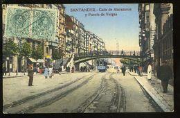 Santander Calle De Atarazanas Y Puente De Vargas Animada Tranvia Visitacion Poblador 1917 - Cantabria (Santander)