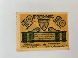 Allemagne Notgeld Warin 10 Pfennig - [ 3] 1918-1933 : République De Weimar