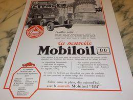 ANCIENNE PUBLICITE AVEC CITROEN HUILE MOBILOIL  1933 - Transporto