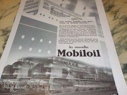ANCIENNE PUBLICITE SUR TERRE COMME SUR MER  HUILE MOBILOIL   1933 - Transporto