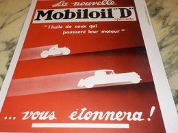ANCIENNE PUBLICITE LA NOUVELLE  HUILE MOBILOIL D  1933 - Transporto