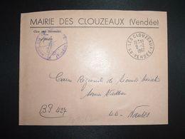 LETTRE MAIRIE OBL.9-2 1967 85 LES CLOUZEAUX VENDEE - Marcofilia (sobres)
