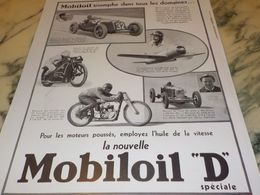 ANCIENNE PUBLICITE TRIOMPHE DANS TOUS LES DOMAINES  HUILE MOBILOIL D  1933 - Transporto