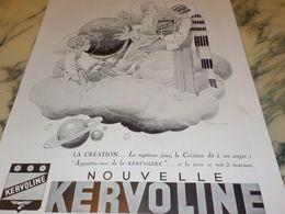 ANCIENNE PUBLICITE LA CREATION LE 7 EME JOUR  KERVOLINE 1933 - Transporto