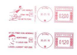 2010 Deux EMA  (affranchissement Double Sur Lettre) Football (L.Laurent Premier Buteur Du Mondial 1930) +Athlétisme - 1930 – Uruguay