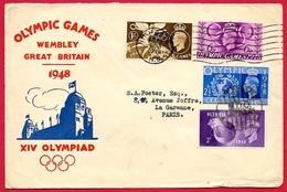 """Lettre En-tête Illustrée """"OLYMPIC GAMES - WEMBLEY Great Britain 1948 XIV OLYMPIAD"""" Jeux Olympiques De LONDRES 4 Timbres - Summer 1948: London"""