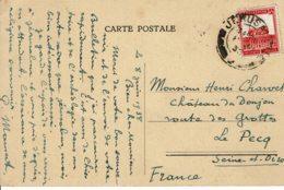 1938 - Carte Postale De Jérusalem Pour La France - Tp N° 69A Oblitération Jérusalem - Palestina