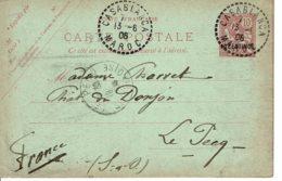 1906 - Carte Entier Postal Tp Mouchon 10ct Surchargé 10 Contimos - Obl CASABLANCA - Covers & Documents