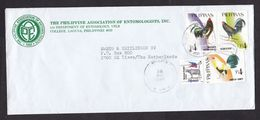 Philippines: Cover To Netherlands, 1998, 4 Stamps, Chicken, Rooster, Ox Animal (2 Upper Stamps Damaged!) - Filippine