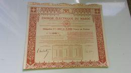 ENERGIE ELECTRIQUE DU MAROC (obligation 5000 Francs) 1935 - Actions & Titres