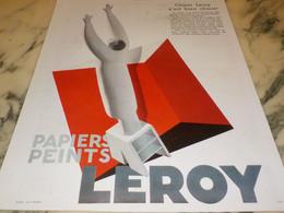 ANCIENNE PUBLICITE PAPIER PEINT LEROY  1933 - Advertising