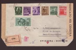 Lettre Recommandée 1754 Obl. Dumenza 13.03.45 -> Basel Zensur/censored/censure OKW D - Poststempel