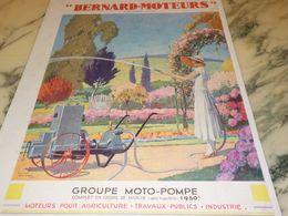 ANCIENNE PUBLICITE MOTO POMPE BERNARD-MOTEURS 1933 - Advertising