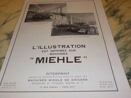ANCIENNE PUBLICITE ILLUSTRATION IMPRIMEE SUR MACHINE MIEHLE 1933 - Advertising
