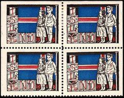 1915. JÓLIN. 4-BLOCK. 2 Seals Never Hinged, Two Seals Hinged. Unusual Block.  () - JF363542 - Iceland