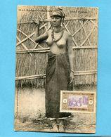A O F- Sénégal- Jeune Femme  Foulah -seins Nus-gros Plan Animé-édition Fortier-années 1910-20 - Senegal