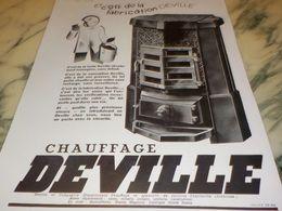 ANCIENNE PUBLICITE CHAUFFAGE  DEVILLE  1933 - Advertising