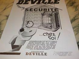 ANCIENNE PUBLICITE C EST LA SECURITE CHAUFFAGE  DEVILLE  1933 - Advertising