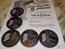 ANCIENNE PUBLICITE 1 SEAU DE CHARBON CHAUFFAGE  IDEAL CLASSIC 1933 - Advertising