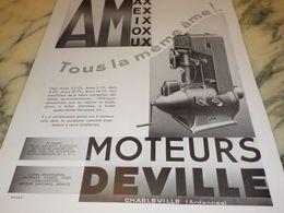 ANCIENNE PUBLICITE TOUS LA MEME AME MOTEUR  DEVILLE  1933 - Advertising