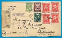 Lettre Recommandée Grèce GREECE (en Tête L. GIACOMO Candie CRETE) D' IRAKLION Pour PARIS Affranchissement 7 + 2 Timbres - Greece