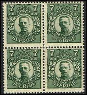 1918. Gustav V. 7 öre Gray Green. 4-block (Michel 69) - JF363728 - Neufs