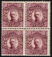 1918. Gustav V. 8 öre. 4-block (Michel 70) - JF363729 - Neufs