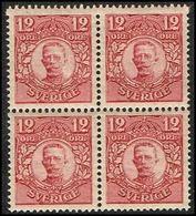 1911-1919. Gustav V. 12 öre. 4-BLOCK.  (Michel 72) - JF363730 - Neufs