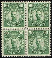 1911-1919. Gustav V. 90 öre. 4-BLOCK.  (Michel 82) - JF363733 - Neufs