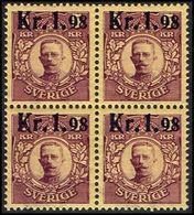 1917. Gustav V. Parcel Post Stamps. Kr. 1.98 On 5 Kr. Red Brown, Yellow Wmk. Crown. 4... (Michel 107) - JF363734 - Neufs