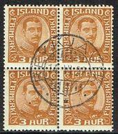 1920. King Christian X. Thin, Broken Lines In Ovl Frame. 3 Aur 4-BLOCK REYKJAVIK 14. ... (Michel 84) - JF363784 - Used Stamps