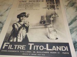 ANCIENNE PUBLICITE SOURCE D EAU PURE  FILTRE TITO LANDI  1933 - Advertising
