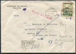 """1947 Poland Krakow / Cracovie """"Consulat De France"""" Registered Airmail Cover - Credit Lyonais, Paris. Diplomatic, Bank - 1944-.... Republic"""