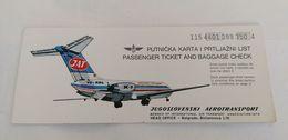 Old Avion Ticket JAT Yugoslav Airlines Putnicka Karta I Prtljazni List Kompas Reklama Hertz Yugoslavia Jugoslawien - Tickets - Vouchers