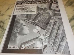 ANCIENNE PUBLICITE JE SEME A TOUT VENT  LAROUSSE 1933 - Unclassified