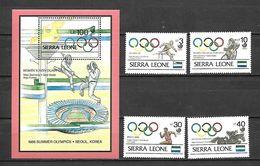 Olympic Games 1988 ,  Sierra Leona  - Zegels + Blok Postfris - Ete 1988: Séoul