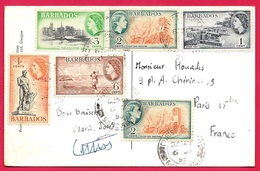 BARBADOS 6 Stamps On Post Card CPA Of Savannah Club ** Barbades Pour PARIS : Affranchissement Composé De 6 Timbres - Barbados (...-1966)