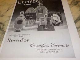ANCIENNE PUBLICITE PARFUM D AVENTURE REVE D OR L.T PIVER 1933 - Perfume & Beauty