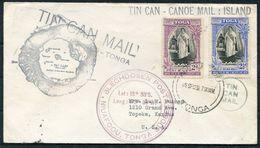 1939 Tonga Tin Can - Canoe Mail Cover - Topeka Kansas USA - Tonga (...-1970)
