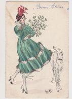 Carte Fantaisie Signée Miki / Jeune Femme Avec Son Chien , Branche De Gui .Bonne Année - Künstlerkarten