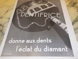 ANCIENNE PUBLICITE ECLAT DE DIAMANT PATE DENTIFRICE GIBBS 1933 - Parfum & Kosmetik