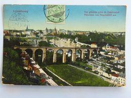 """C. P. A. Couleur : LUXEMBOURG : Vue Générale Prise Du Fetschenhof, Timbre En 1912, Beau Cachet """"Luxembourg Gare"""" - Luxemburg - Stad"""