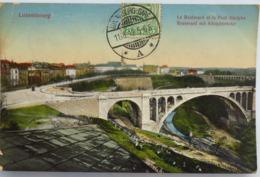 """C. P. A. Couleur : LUXEMBOURG : Le Boulevard Et Le Pont Adolphe, Timbre En 1912, Beau Cachet """"Luxembourg Gare"""" - Luxemburg - Stad"""