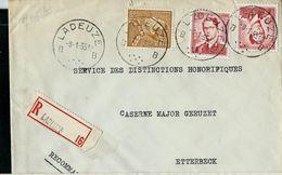 Doc. De LADEUZE - B B - Du 08/01/55  En Rec. - Postmark Collection