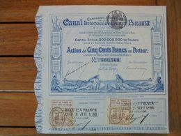 PANAMA - CIE UNIVERSELLE DU CANAL INTEROCEANIQUE DE PANAMA - ACTION DE 500 FRS - PARIS 1880 - Zonder Classificatie
